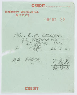 Londontown Enterprises Ltd; Reciept to Edith Collier from Londontown Enterprises Ltd; 26 May 1960; A2015/1/482