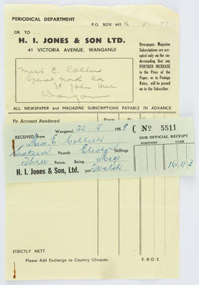 H I Jones & Son; Invoice and Receipt to Edith Collier from H. I. Jones & Sons Ltd; 22 May 1958; A2015/1/485