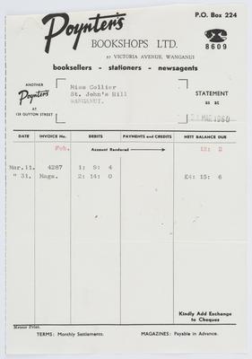 Poynter's Bookshops Ltd; Invoice to Edith Collier from Poynter's Bookshops Ltd.; 31 Mar 1960; A2015/1/484