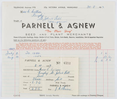 Parnell & Agnew; Invoice and Receipt to Edith Collier from Parnell & Agnew; 30 Aug 1957; A2015/1/486