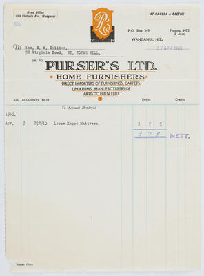 Purser's Ltd.; Invoice to Edith Collier from Purser's Ltd; 24 Apr 1960; A2015/1/487