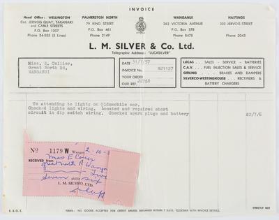 L. M. Silver & Co. Ltd.; Invoice to Edith Collier from L. M. Silver & Co. Ltd.; 02 Oct 1957; A2015/1/488