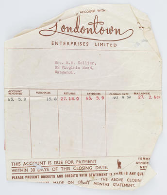 Londontown Enterprises Ltd; Invoice and Reciepts to Edith Collier from Londontown Enterprises Ltd; 04 May 1959; A2015/1/489