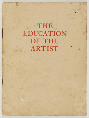 Silk & Terry Printers; The Education of the Artist Booklet; 30 Jun 1959; A2015/1/495