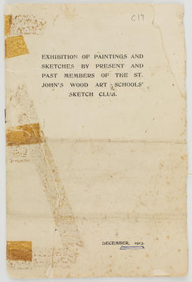 Jamieson & Haimes; St. John's Wood Art Schools booklet; Dec 1913; A2015/1/496