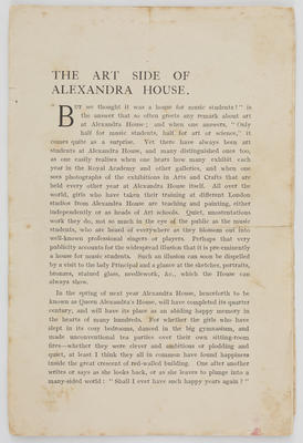 Unknown; Alexandra House brochure; Unknown; A2015/1/501