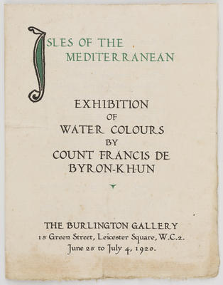 Unknown; Catalogue of works by Count Francis de Byron-Khun; 1920; A2015/1/505