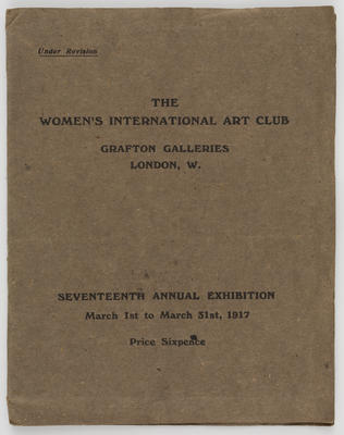 Unknown; Catalogue of the Women's International Art Club; 1917; A2015/1/507