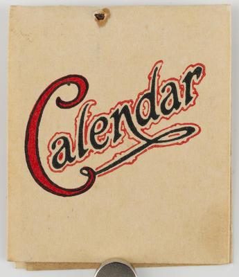 Unknown; Miniature calendar; 1925; A2015/1/510