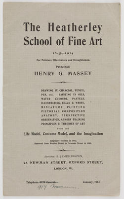 Unknown; The Heatherly School of Fine Art pamphlet; A2015/1/518