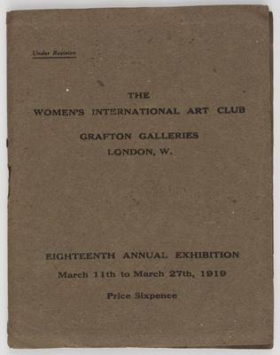 Unknown; Women's International Art Club catalogue; 1919; A2015/1/520