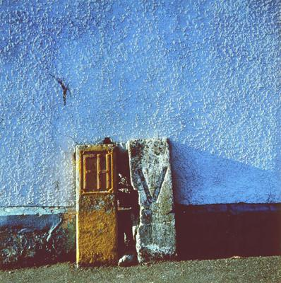 Walls and Fences No10 (Blue Wall with Yellow Hydrant)