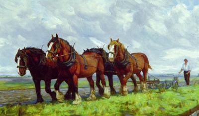 Violet Whiteman; Horses Ploughing in the Field; 1990/1/2