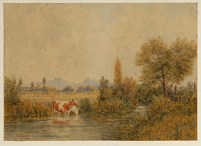 Landscape with cows drinking at a stream 1869