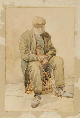Edward Noel Barraud; Old Man Sitting Down; Circa 1900; L1940/6/16