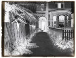 Glass plate negative of entrance to the Old Studio