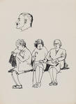 Untitled (Male profile and three seated women)