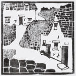 Untitled (Slate-roofed cottages with stone walls and path)