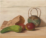 Still Life with Apples, Courgette and Ginger Jar