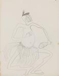 Untitled (Stylised Māori figure study)
