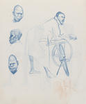 Untitled (Male leaning on bicycle and head studies)