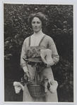 Portrait of Edith Collier holding a basket of lilies (reprint taken off original print)