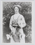 Portrait of Edith Collier holding a basket of lilies (reproduction of original print)