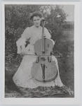 Portrait of Edith Collier playing the cello