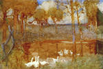 """The Noisy Geese that Gabbled o'er the Pool (From Goldsmith's """"Deserted Village"""")"""