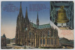 Coloured postcard of Cologne Cathedral, to Edith Collier from cousin Jim.