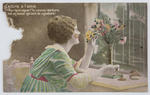 A postcard of a young woman with a vas of carnations, from cousin Jim to Edith.