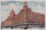 Postcard of the front of Harrod's store, London, to Edith Collier.