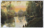 A coloured postcard of a river at sunset to Edith Collier from Isa.
