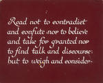Untitled (Lettering exercise, Read not to contradict...)