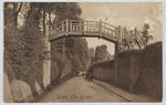 """Black and white postcard titled """"Shere, The Bridge"""" to Miss Collier from unknown author (boarded with Mrs Weller)."""