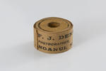 """One roll of brown tape (inscribed """"From F.J. DENTON, PHOTOGRAPHER, WANGANUI, N.Z."""")"""