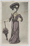 """Hand coloured black and white photograph of """"Miss Billie Burke"""". From E Davis to Edith Collier."""