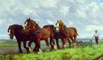 Horses Ploughing in the Field